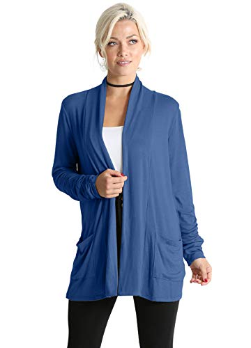(Long Sleeve Lightweight Cardigan Sweater for Women with Pockets - Made in USA (Size XX-Large US 18-20, Denim))