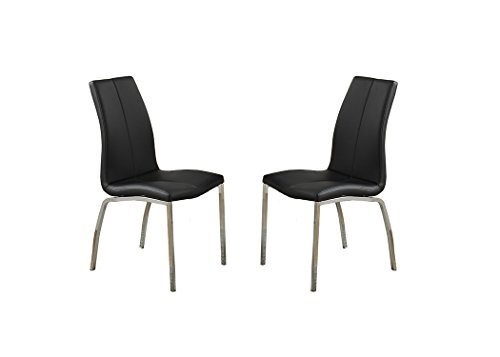 Poundex Bobkona Koren Set of Two PU & Metal Dining Chair in Black For Sale