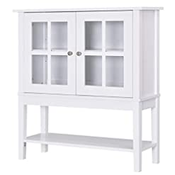 Kitchen HOMCOM Modern Kitchen Credenza & Sideboard Buffet Cabinet with 2 Swinging Glass Doors & Ample Storage Space, White modern buffet sideboards