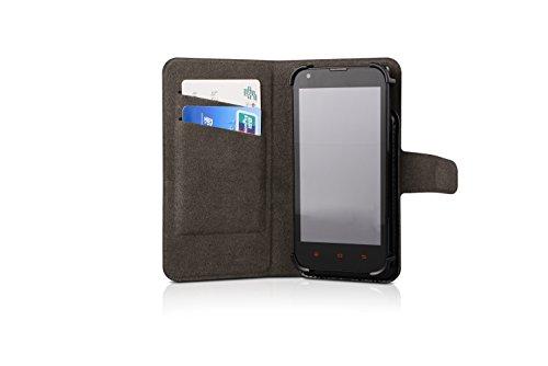 Funda para el Alcatel A7, Walletcase hecho de cuero sintético en negro, monocromático y simple. Bolsillo para el teléfono móvil con ranuras para tarjetas de crédito y la función del soporte. BookStyle