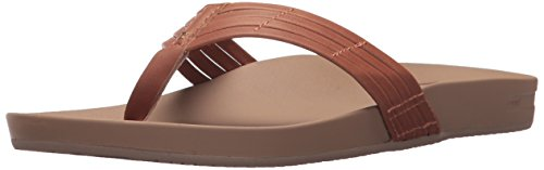 Women Leather Flip Flops (Reef Women's Cushion Bounce Sunny Flip Flop, Tobacco, 9 M US)
