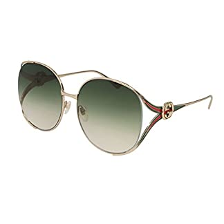 e1ada050eee Gucci GG0225S 003 Gold Green GG0225S Round Sunglasses Lens Category 2 Size  63