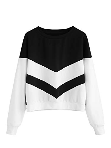 (SweatyRocks Women's Casual Sweatshirts Crewneck Long Sleeve Color Block Sweatshirt Pullover Tops Black and White Medium)
