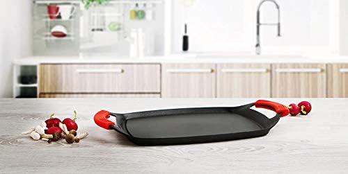 MGE - Plancha/Poêle Grill - Plaque Anti-Adhésive - Plaque de Cuisson - Poignées en Silicone - Induction - 36 x 23 cm