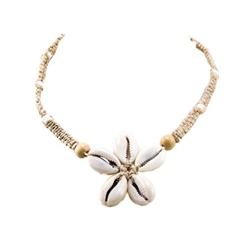 BlueRica Cowrie Shells Flower Pendant on Braided Hemp Cord Choker Necklace with Puka Shell Beads