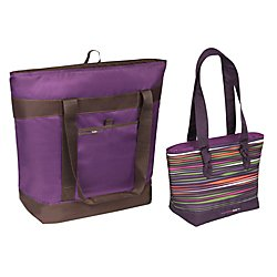Rachel Ray Polyester Jumbo Chillout Tote And Knotty Tote Combo, Purple/Purple Isa (Ray Stripe)