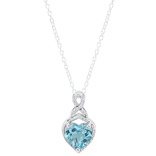 10K White Gold 8 MM Heart Shaped Blue Topaz & Round White Diamond Ladies Heart Pendant by DazzlingRock Collection