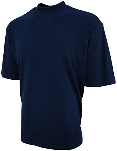 (Good Life Mens Luxury Cotton Mock Neck Shirt Pre-Shrunk (Medium, Navy Blue) )