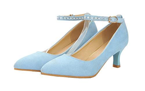 Flats Pelle Mucca di Fibbia Tacco Ballet Medio Puro Azzurro GMMDB006876 AgooLar Donna l qxzwHaITn