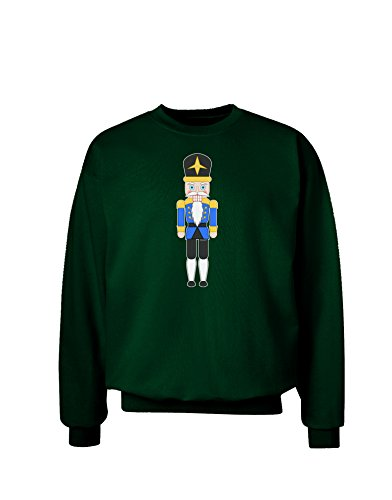 TooLoud Nutcracker Design - Blue Gold Black Adult Dark Sweatshirt - Deep Forest - XL