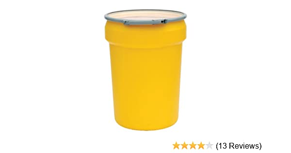 21 Height Eagle 1654 Yellow Blow-Molded HDPE Salvage Drum with Metal Ring Lever-Lock Lid 21 Diameter 20 Gallon Capacity Pack of 2