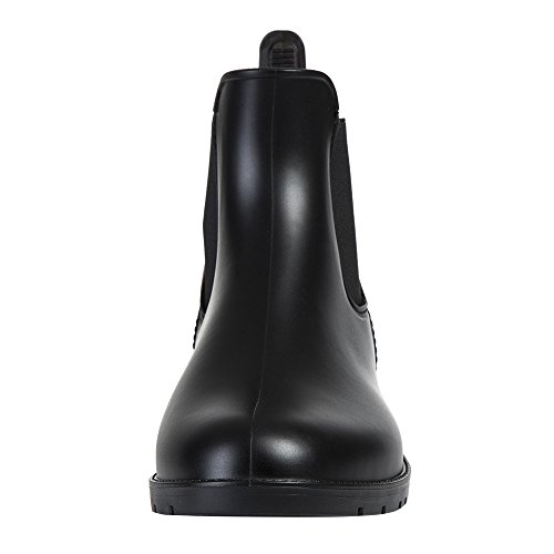 Asgard Women's Short Rain Boots Waterproof Black Elastic Slip On Ankle Booties B37