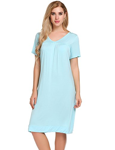 Ekouaer Women's Sleepwear Cotton Sleep Shirt V neck Short Sleeve Nightgown,Blue,Small -