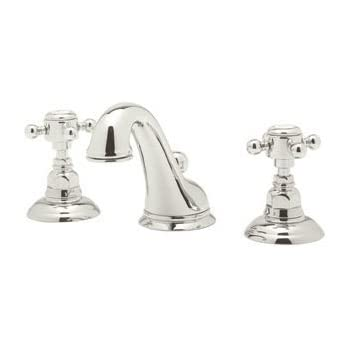 Rohl A1408XMPN 2 Country Bath Viaggio Widespread Lavatory Faucet With Cross  Handles Pop Up And C Spout, Polished Nickel