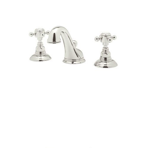 Rohl A1408XMPN-2 Country Bath Viaggio Widespread Lavatory Faucet with Cross Handles Pop-Up and C Spout, Polished Nickel