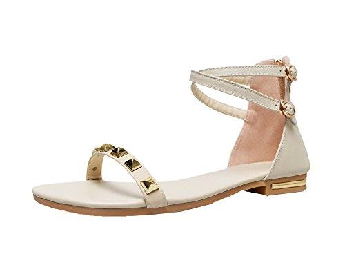 VogueZone009 Women Low-Heels Pu Solid Zipper Open-Toe Sandals apricot