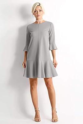 Womens Cocktail 3/4 Sleeve Ruffle Hem Shift Dress - Made in USA