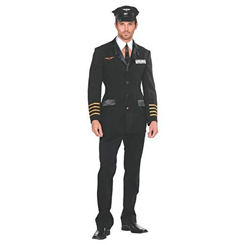 Dreamgirl Men's Mile High Pilot Hugh Jorgan Adult Costume Large Black]()
