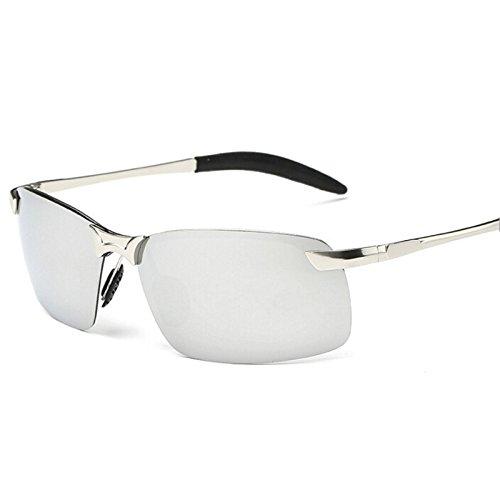 Hombres Plateado Gafas Conducción TIANLIANG04 Del Negro Sin Deporte mirror Polarizado De Herraje Con Metálico Hombres silver De w0I887