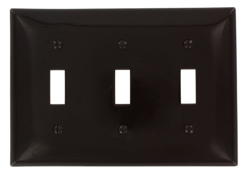 (Leviton 80711 3-Gang Toggle Device Switch Wallplate, Brown)
