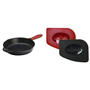 Lodge Cast-Iron Skillet L10SK3ASHH41B, 12-Inch and Lodge SCRAPERPK Durable Polycarbonate Pan Scrapers, Red and Black, 2-Pack Bundle