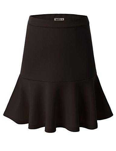 Doublju Women Basic Solid Color Mini Length Flared Skirt BROWN,L