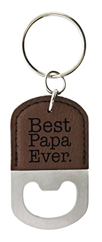 Fathers Day Gifts for Papa Best Papa Ever Leather Bottle Opener Keychain Key Tag Brown