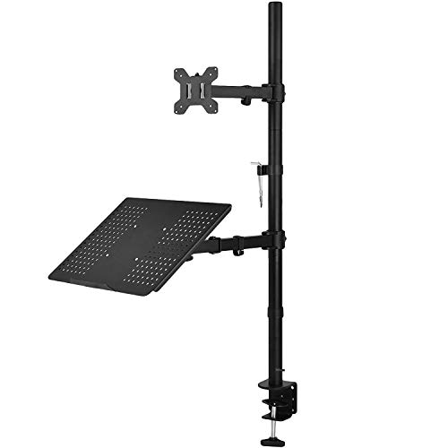 WALI Extra Tall Single LCD Monitor Stand Desk Mount with Laptop Tray for 1 Laptop Notebook and 1 LCD Monitor Mount, Fully Adjustable Fits up to 17 inch Notebook and 27 inch Display (M001XLLP), Black (Mount Pole Laptop)