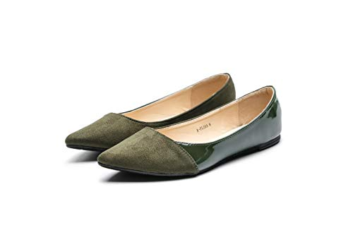 Mila Lady Flora Stylish Patent Leather Pointed Toe Comfort Slip On Ballet Dressy Flats Shoes for Women,Olive 7.5 -