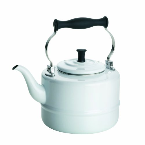 BonJour Tea Enamel-on-Steel Gooseneck Teapot / Teakettle, 2-Quart, White