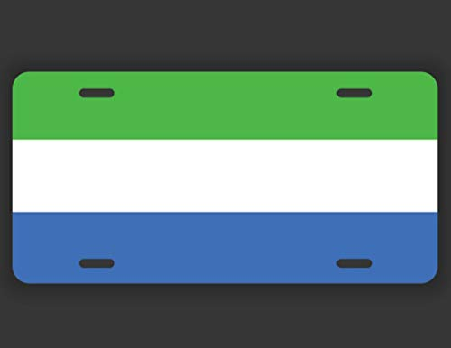 DHDM Designs Sierra Leone Flag License Plate Tag Vanity Novelty Metal | UV Printed Metal | 6-Inches by 12-Inches | Car Truck RV Trailer Wall Shop Man Cave | VLP281