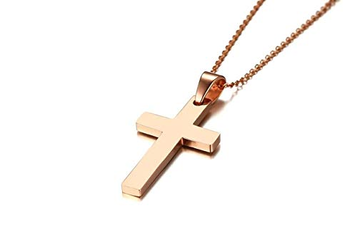 Metal Color: Rose Gold Davitu Fashion Punk Male Black Cross Pendant Silver Gold Black Stainless Steel Jesus Cross Pendant Necklace Jewelry for Cool Men Gift