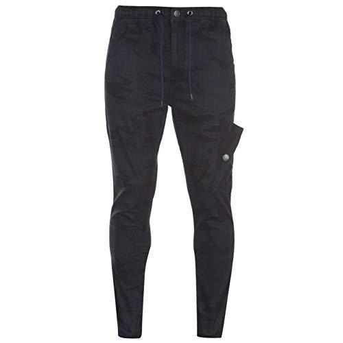 No Fear Mens Cuffed Camo Cargo Pants Bottoms Navy 38W R (No Fear Combat Pants)