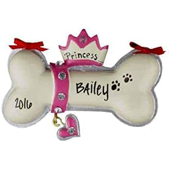 Amazon.com: Princess Dog Bone Personalized Ornament ...