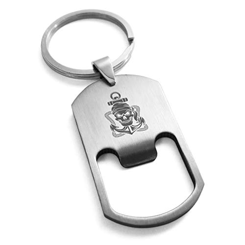 - Tioneer Stainless Steel Jolly Roger Pirate Skull Rope & Anchor Engraved Bottle Opener Dog Tag Keychain Keyring
