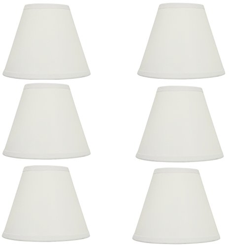 Upgradelights Set of Six - 5 Inch White English Barrel Silk Chandelier Shades 2x5x4 (Shade English)