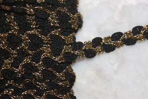 1.50 Yard Black Rosebud Metallic Gold Braid GIMP Sewing Trim 1/2