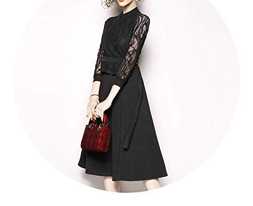 Anewsex Trendy Midi Office Black Lace Dress Robe Women Rockabilly Dress,Large,Gray