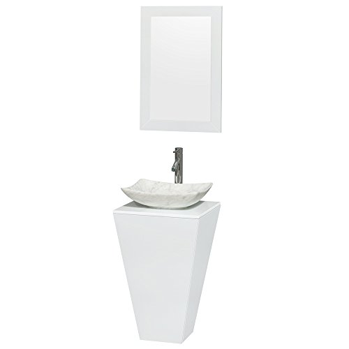 Vanity Pedestal Stone Marble (Wyndham Collection Esprit 20 inch Pedestal Bathroom Vanity in Glossy White, White Man-Made Stone Countertop, Arista White Carrera Marble Sink, and 20 inch Mirror)