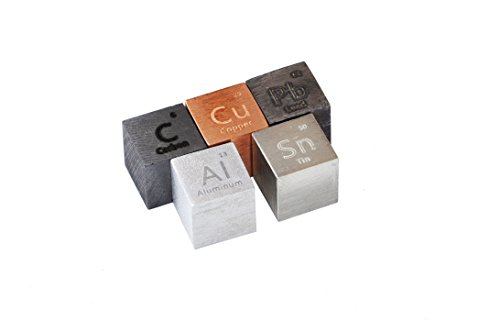 10mm Precision Machined Density Cubes: Carbon, Copper, Aluminum, Tin & Lead Metal