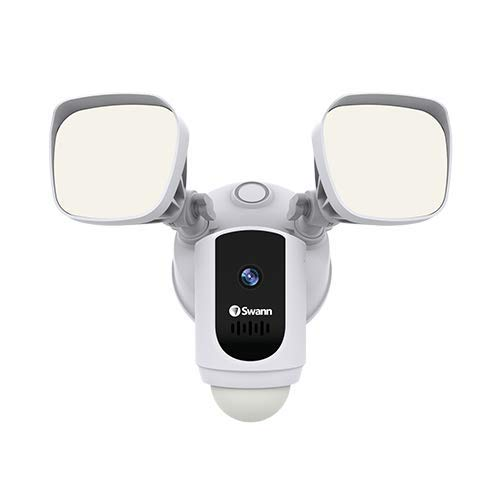 Swann Floodlight Security Camera w/Dimmable Motion Lighting, 2 Way Talk, Wi-Fi Surveillance 1080p HD, Indoor/Outdoor Color Night Vision, True Detect Heat Sensing, Alexa/Google, White, SWWHD-FLOCAMW by Swann