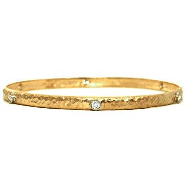 Or jaune 18carats-Bracelet Jonc 0,46CT Diamant rond à enfiler-17,8cm