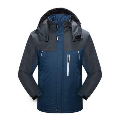 SHR-GCHAO Winter Outdoor Bergsteigen Kleidung Samt Dicke wasserdichte und verschleißfeste Männer Baumwollmantel Reiten Ski,Blau,4XL