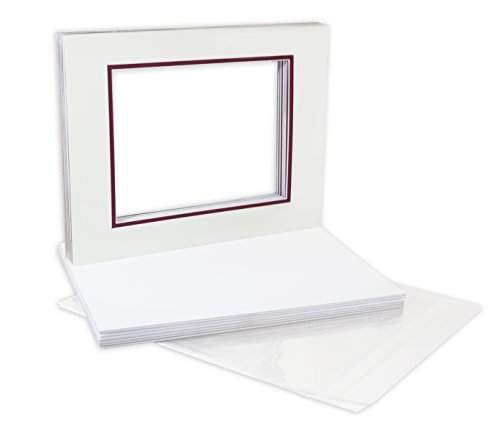 Golden State Art Pack of 10, Double Mats 11x14 with White Core Bevel Cut for 8x10 Pictures + Backing + Bags, Ivory Turret Over Maroon