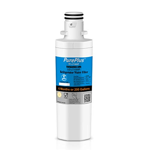 Price comparison product image PurePlus Refrigerator Water Filter,  Compatible with LG LT1000P,  LT1000PC,  MDJ64844601,  ADQ74793501,  ADQ74793502,  Kenmore 46-9980,  9980,  1 Pack