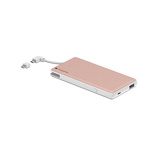mophie powerstation Plus External Battery with Built in Cables for Smartphones and Tablets (6,000mAh) - Rose Gold