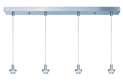 - ET2 ES94204-SN Carte LED 4-Light Linear Pendant, Satin Nickel Finish, Glass, LED Bulb, 40W Max., Dry Safety Rated, 3000K Color Temp., Standard Triac/Lutron or Leviton Dimmable, Acrylic Shade Material, 1400 Rated Lumens