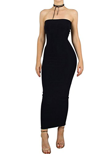 long black fitted maxi dress - 4