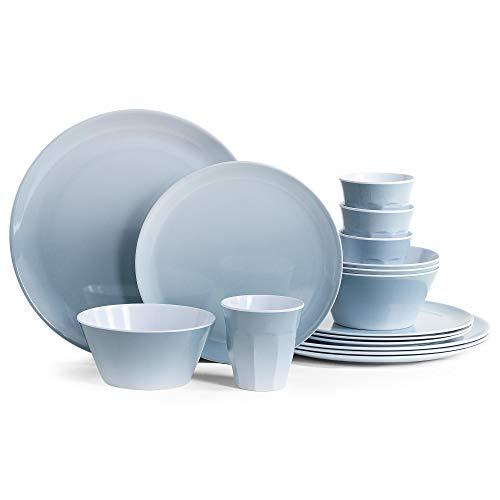 VonShef 16pc Melamine Dinner Set - Shatterproof Dining Set for Outdoor Picnic, Camping, BBQ - Includes 4 Dinner Plates, 4 Dessert Plates,4 Bowls, 4 Cups, Service for 4