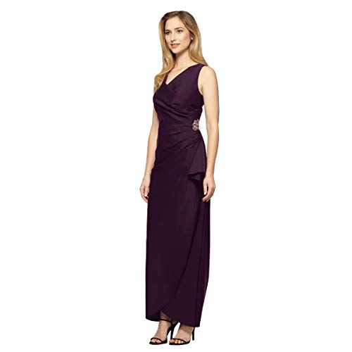 Alex Evenings Women's Slimming Long Side Ruched Dress with Cascade Ruffle Skirt, Aubergine, -